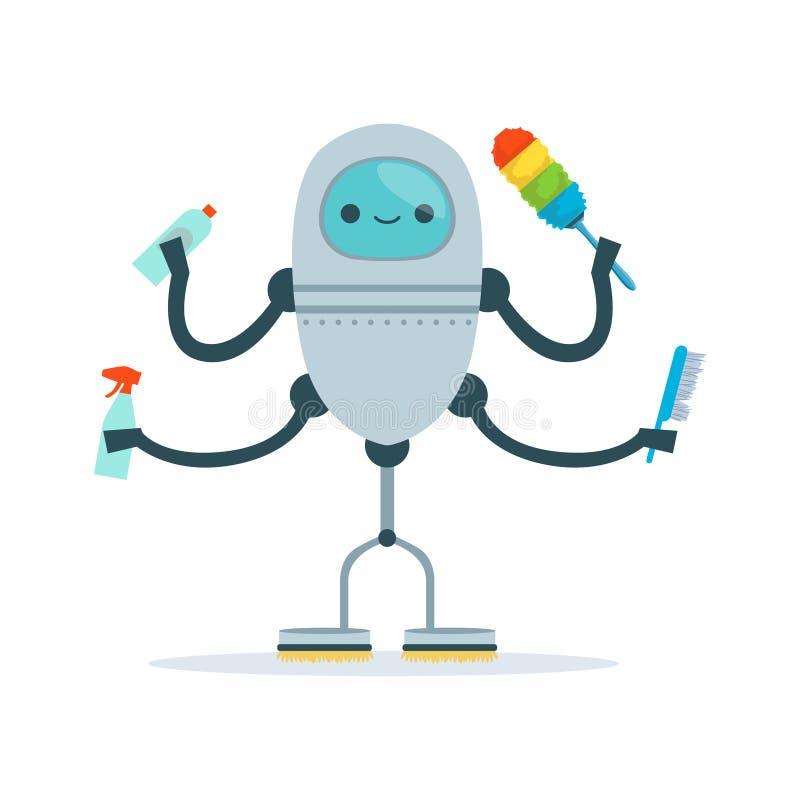 De multi bewapende schonere vectorillustratie van het dienstmeisje androïde karakter stock illustratie