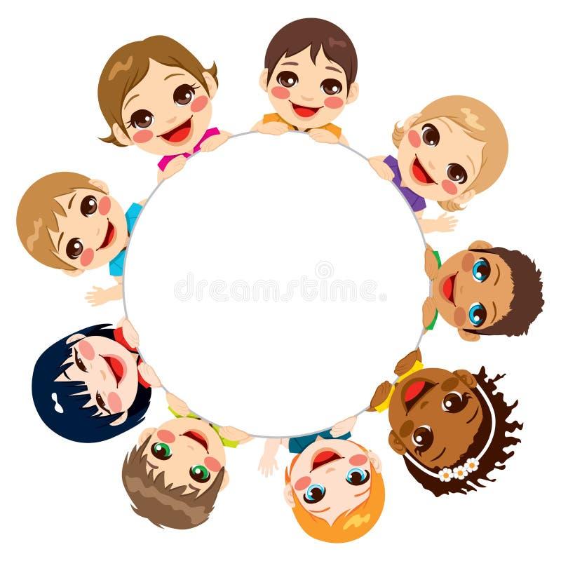 De multi-etnische Kinderen groeperen zich vector illustratie