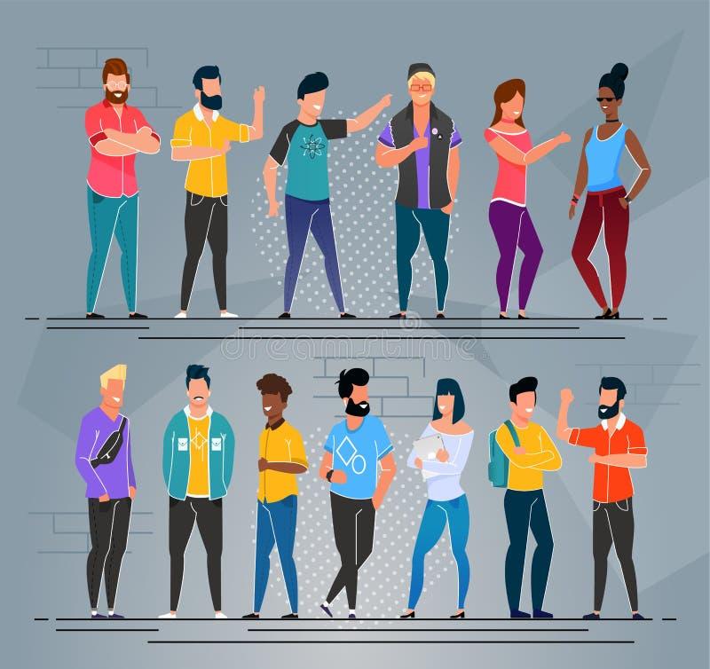 De multi-etnische Reeks van de het Beeldverhaalgroep van Mensenfreelancers vector illustratie