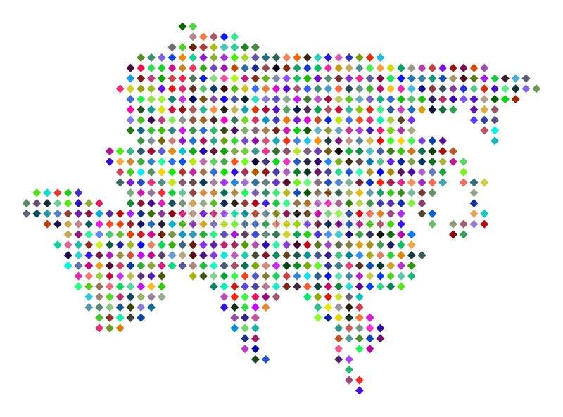 De multi Gekleurde Gestippelde Kaart van Azië royalty-vrije illustratie