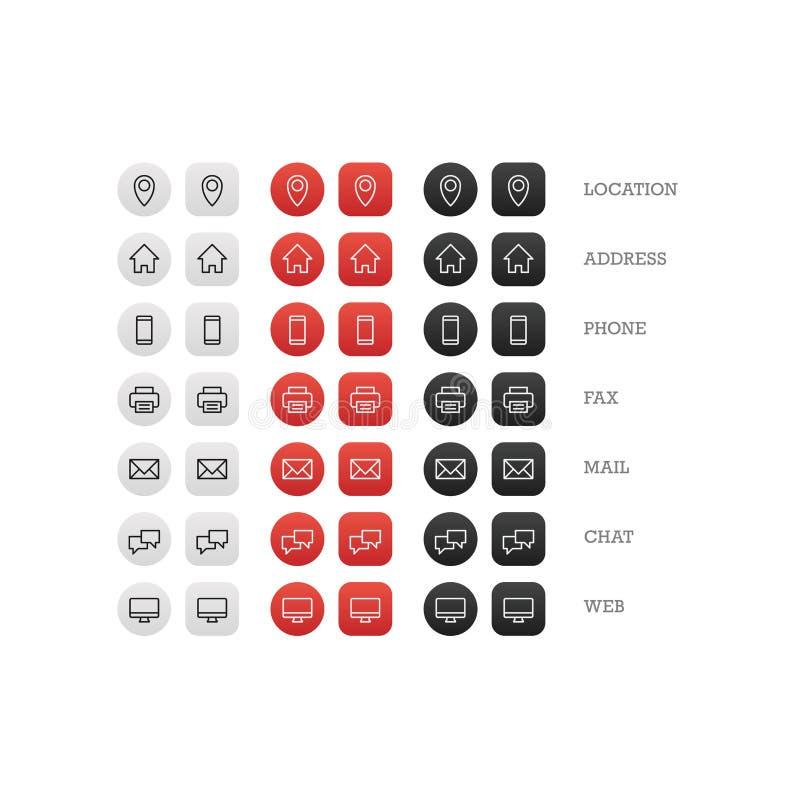 De multifunctionele reeks van het adreskaartjepictogram Webpictogrammen voor zaken, financiën en mededeling royalty-vrije illustratie
