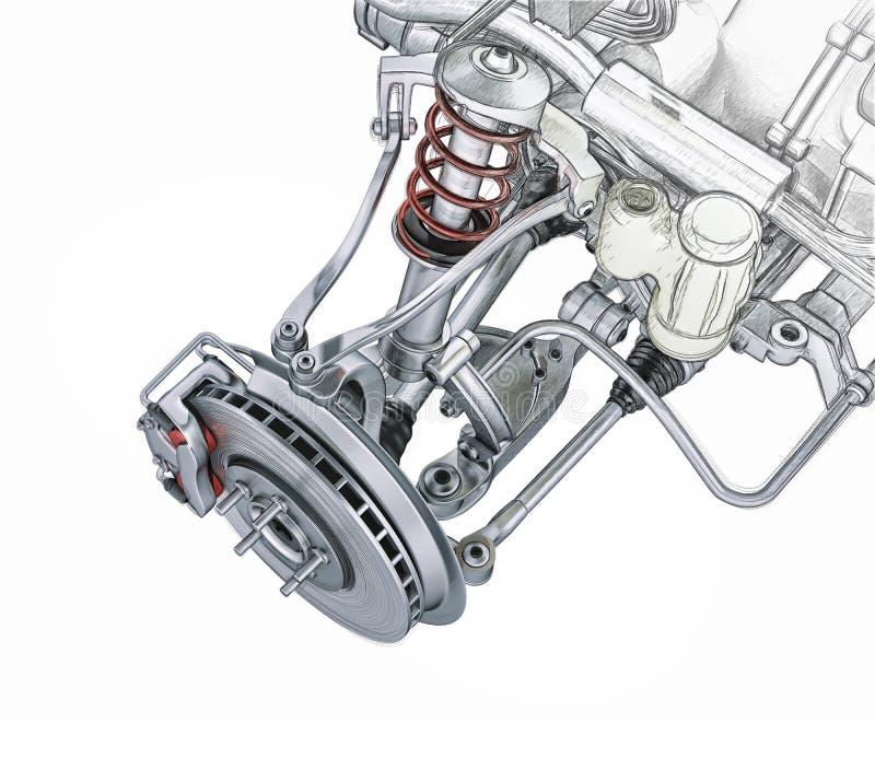 De multiopschorting van de verbindings voorauto, met rem. stock illustratie