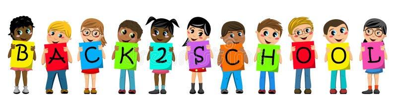 De multiraciale jonge geitjeskinderen die karton houden beschrijven terug naar geïsoleerde schooltekst royalty-vrije illustratie