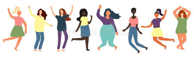 De multiraciale vrouwen van verschillend cijfer typen en rangschikken gekleed in comfortslijtage die zich in rij bevinden vector illustratie