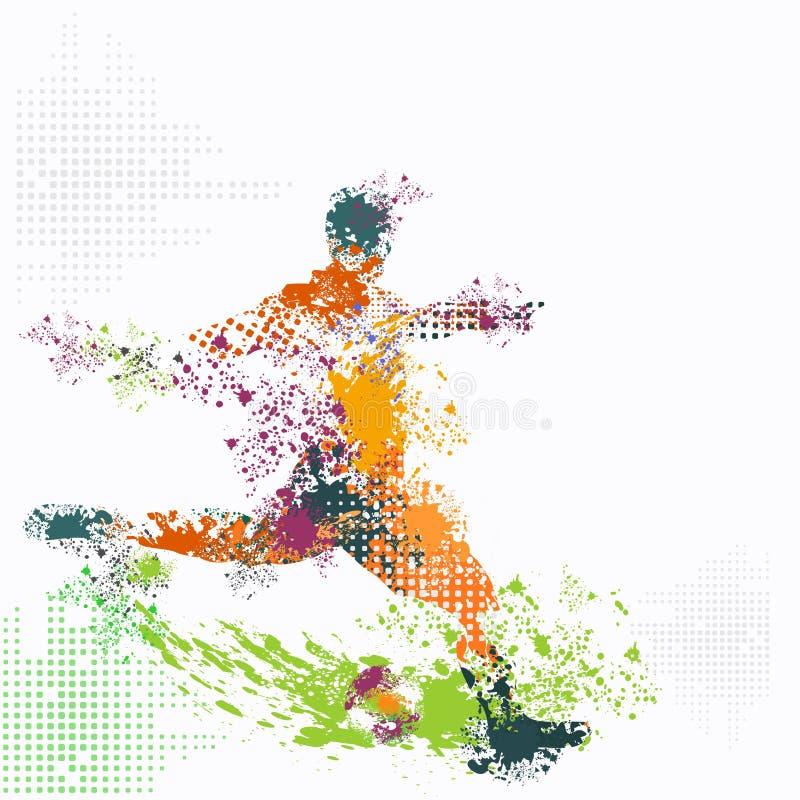 De multivector van de kleuren grunge voetbal royalty-vrije illustratie