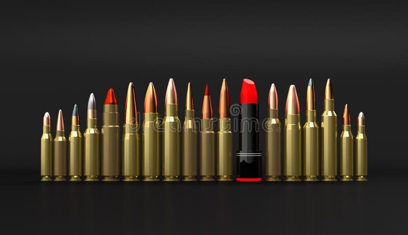De munitie van de geweerlippenstift op zwarte 3d illustratie als achtergrond royalty-vrije illustratie