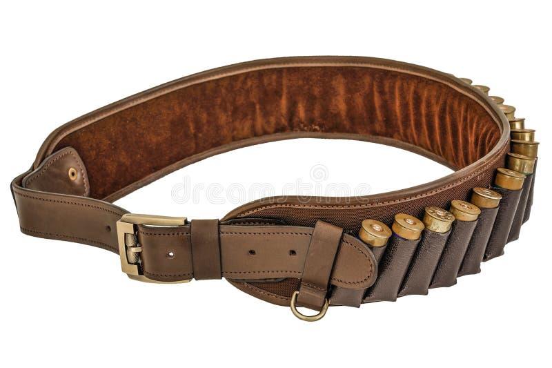 De munitieriem van het jagersgeweer munitie en meer bandolier, patroneninsi royalty-vrije stock afbeelding