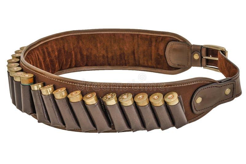 De munitieriem van het jagersgeweer munitie en meer bandolier, patroneninsi royalty-vrije stock afbeeldingen
