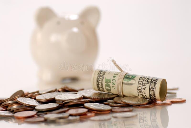 De munt en het spaarvarken van de V.S. royalty-vrije stock foto's