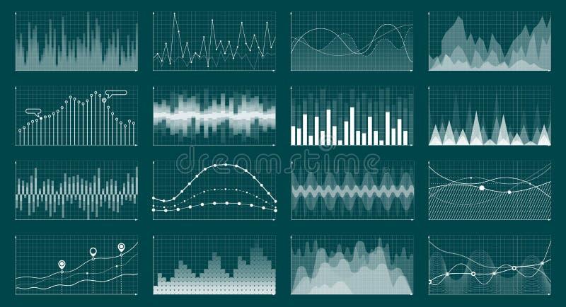 De munt kweekt grafiek Het diagram van de voorraadgrafiek, financiën en economische marktanalysegrafieken De grafiekenvector van  stock illustratie