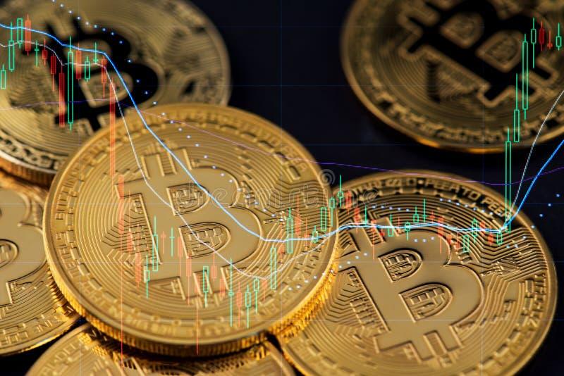 De muntstukken van Bitcoincryptocurrency Schaal op financi?le grafiek royalty-vrije stock afbeelding