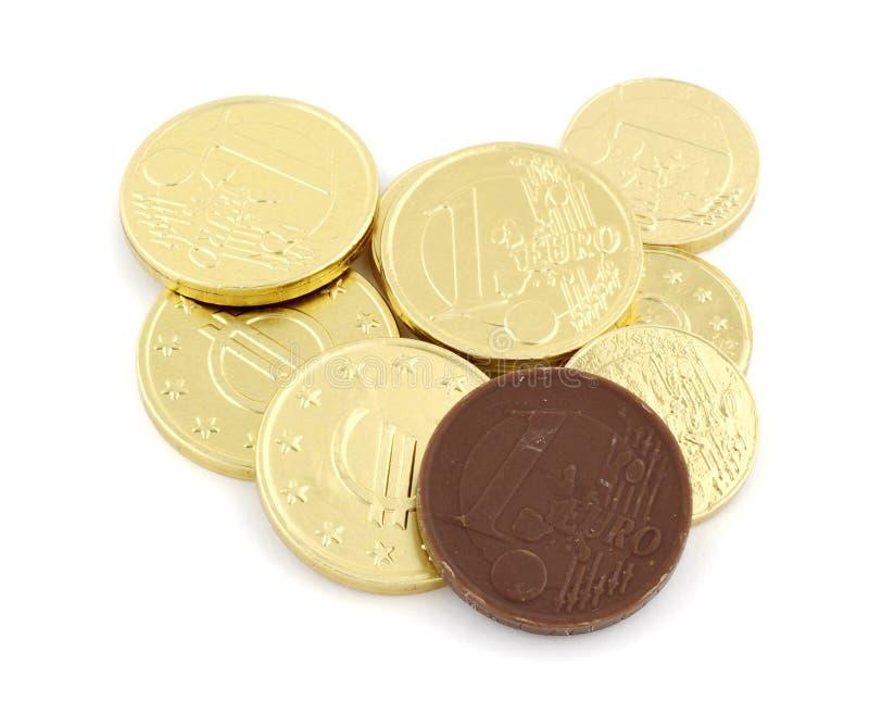 De muntstukken van de chocolade stock fotografie