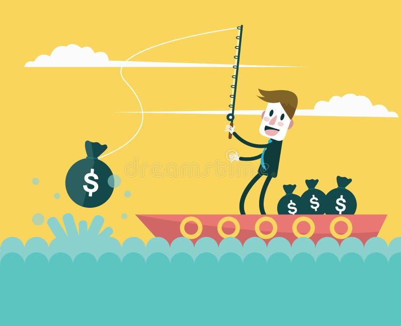 De muntstukken van de zakenmanvangst door de ballon van de ideeën hete lucht Bedrijfswinstconcept royalty-vrije illustratie