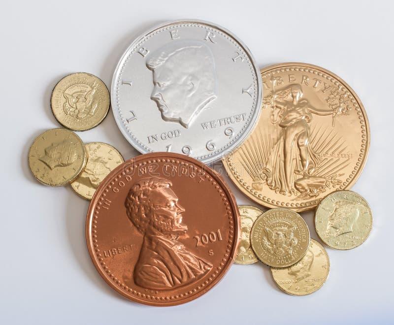 De Muntstukken van het Geld van de chocolade stock afbeelding