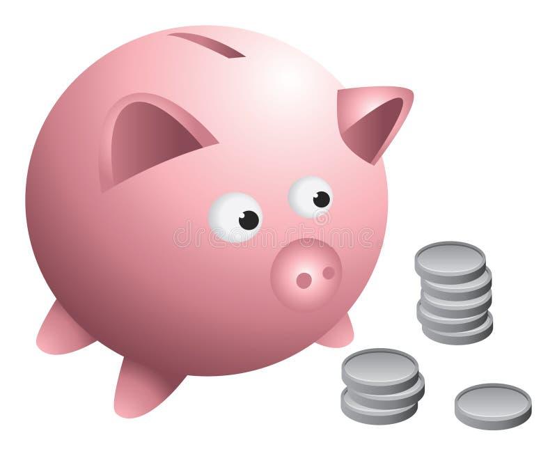 De muntstukken van het spaarvarken stock illustratie