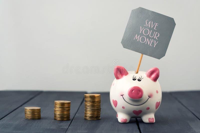De muntstukken van het spaarvarken en van torens De inschrijving bespaart uw geld De ruimte van het exemplaar stock afbeelding