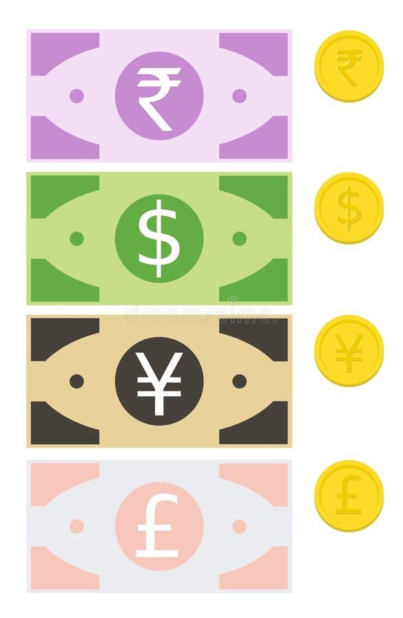 De Muntstukkenvector van muntnota's, Roepie, Dollar, Yen, Pond vector illustratie