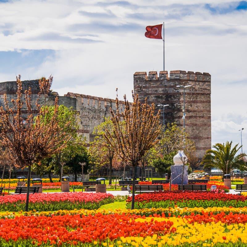 De muren van Constantinopel stock fotografie