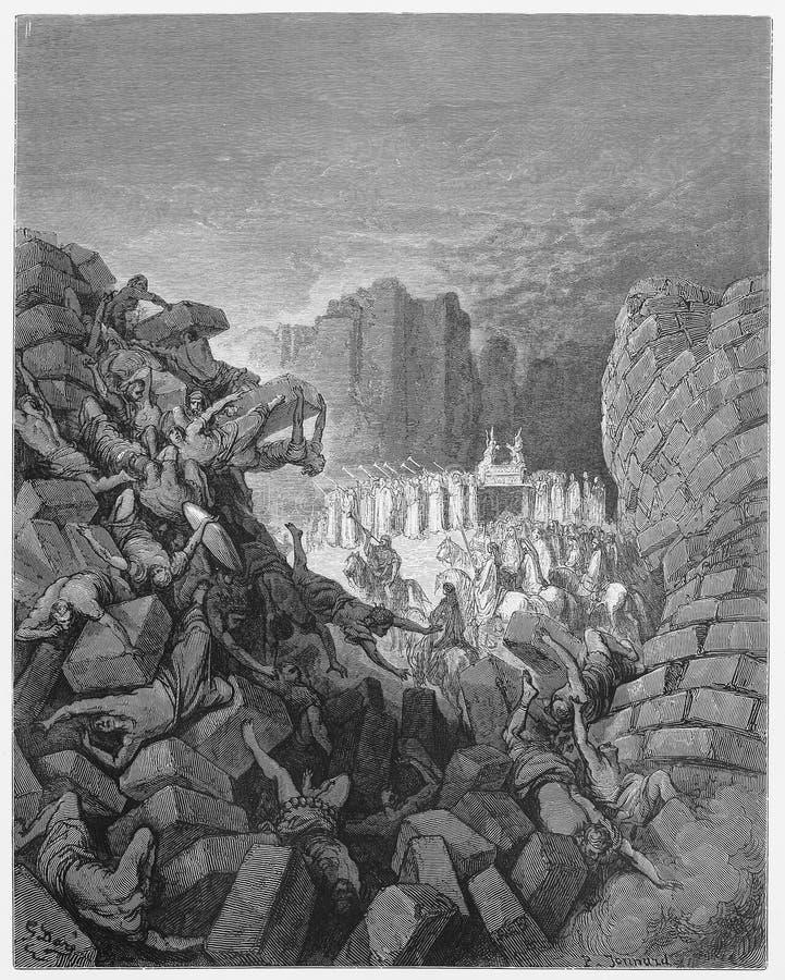 De muren van de daling van Jericho neer royalty-vrije illustratie