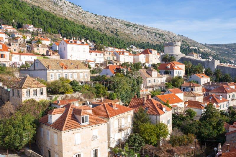De muren van de Dubrovnikstad Kroatië stock afbeeldingen
