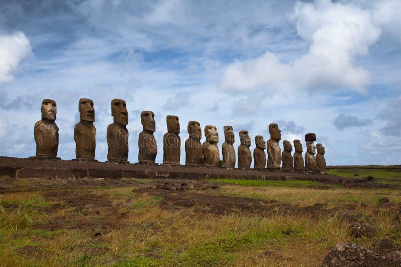 De muren van de Krater van Rararku van Ranu op het Eiland van Pasen royalty-vrije stock foto's
