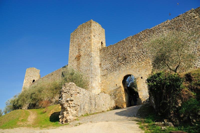 De muren van Monteriggioni royalty-vrije stock foto's