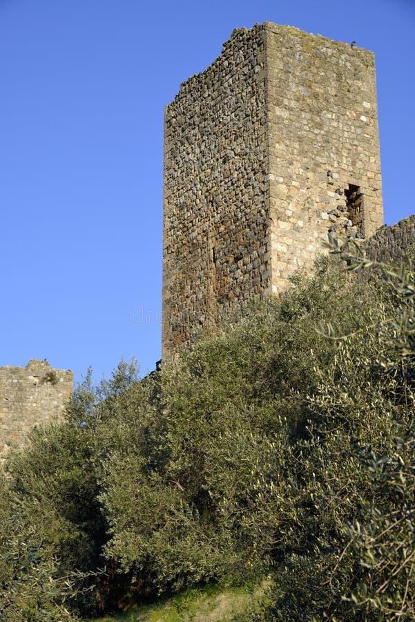 De muren van Monteriggioni stock fotografie