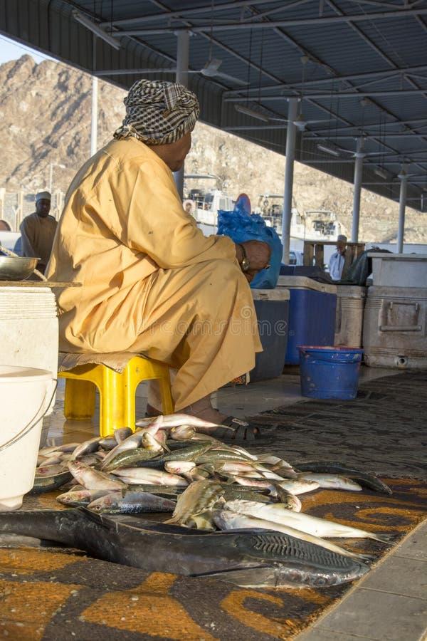 De Muscateldruif van Oman van de vissenmarkt stock foto