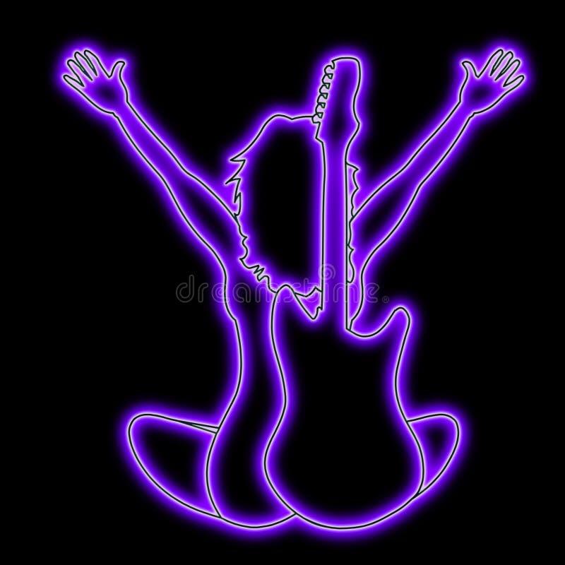 De Muse van de muziek - het Silhouet van het Neon royalty-vrije illustratie