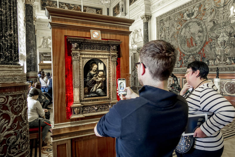De museumbezoekers nemen beelden van Leonardo da Vinci royalty-vrije stock foto's