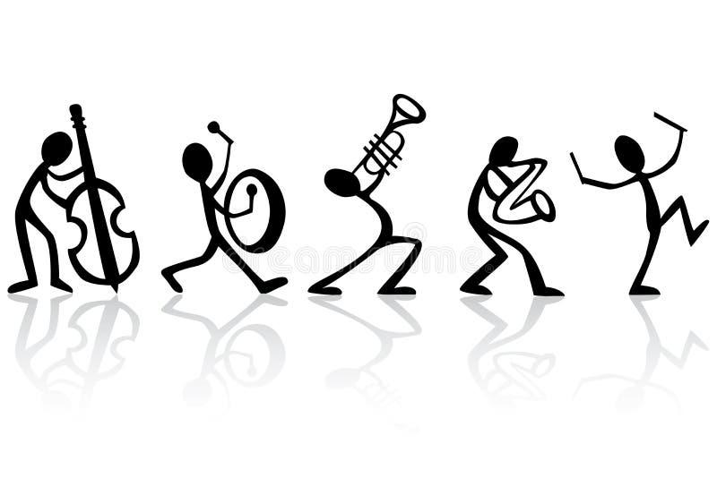 De Musici die van de band de VectorIllustratie van de Muziek spelen vector illustratie