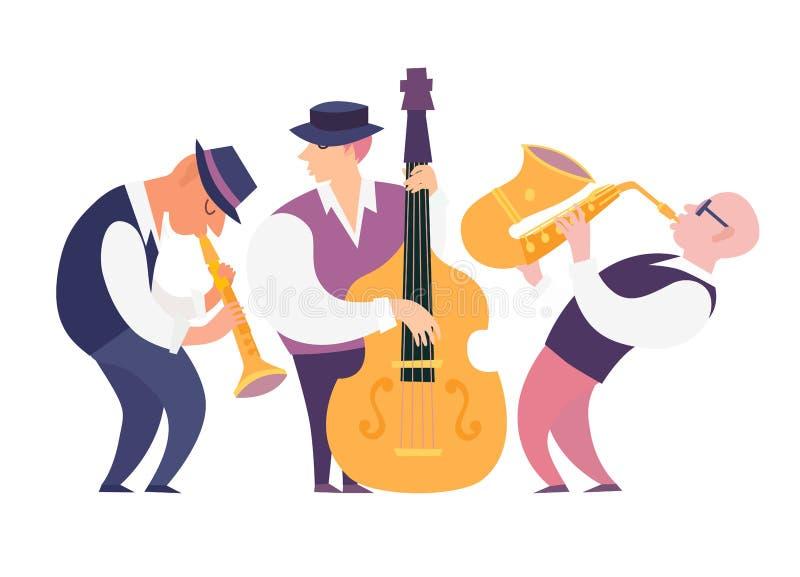 De musici van de beeldverhaaljazz groeperen vectorillustratie: contrabassist, saxofoon en klarinet royalty-vrije illustratie