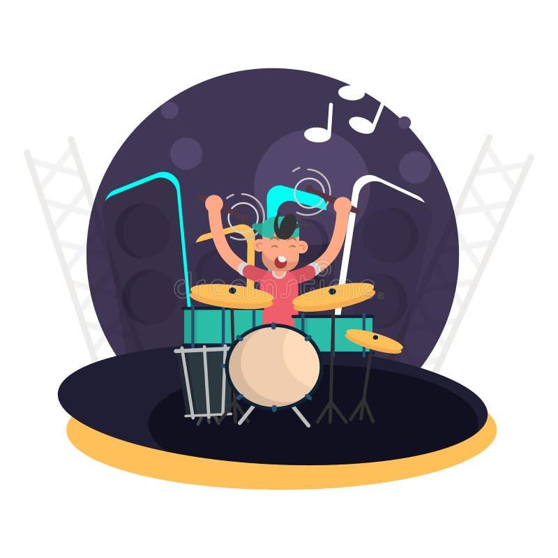 De musicus achter het drumstel op het vlakke pictogram van de stadiumkleur royalty-vrije illustratie