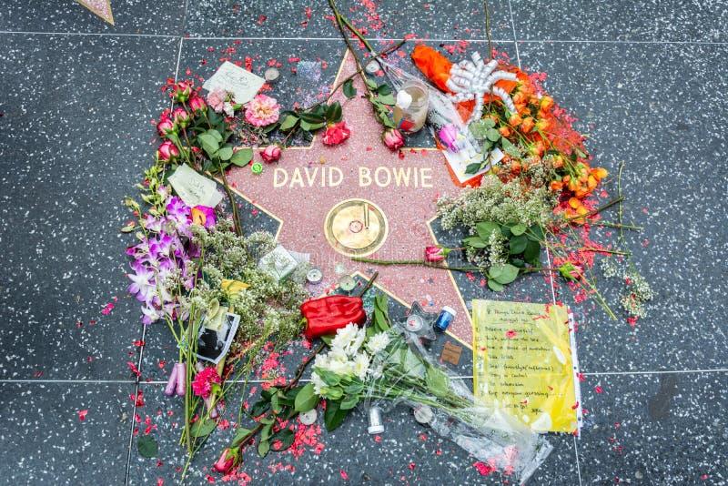 De musicus en songwriter David Bowie spelen op de Hollywood-Gang van Bekendheid in Los Angeles, CA mee stock afbeelding