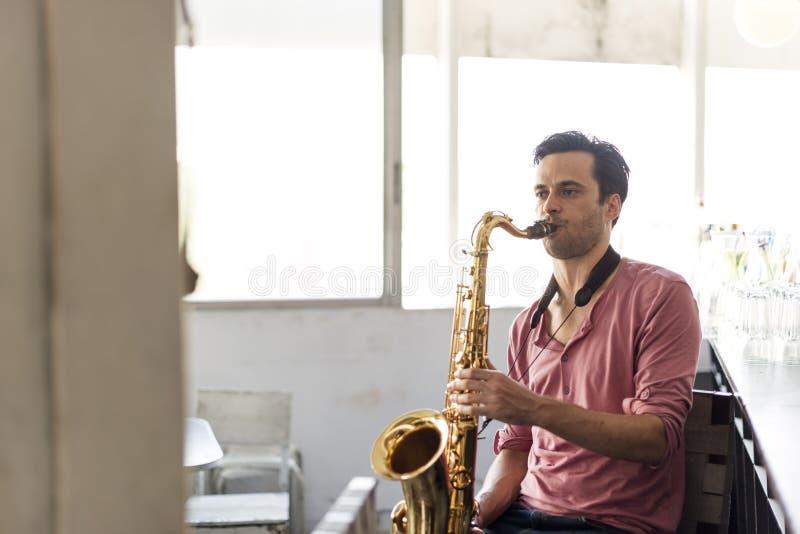 De Musicus Jazz Instrument Concept van de saxofoonsymfonie royalty-vrije stock foto