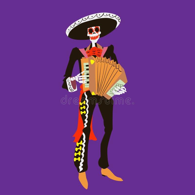 De musicus van het mariachiskelet van Gr Ð ¡ haracter met geïsoleerde harmonika Dia DE los muertos of de vectorillustratie van Ha stock illustratie