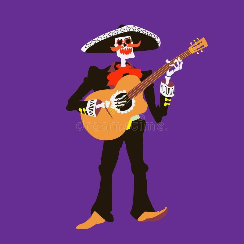 De musicus van het mariachiskelet van Gr Geïsoleerd gitaristkarakter Dia DE los muertos of de vectorillustratie van Halloween vector illustratie