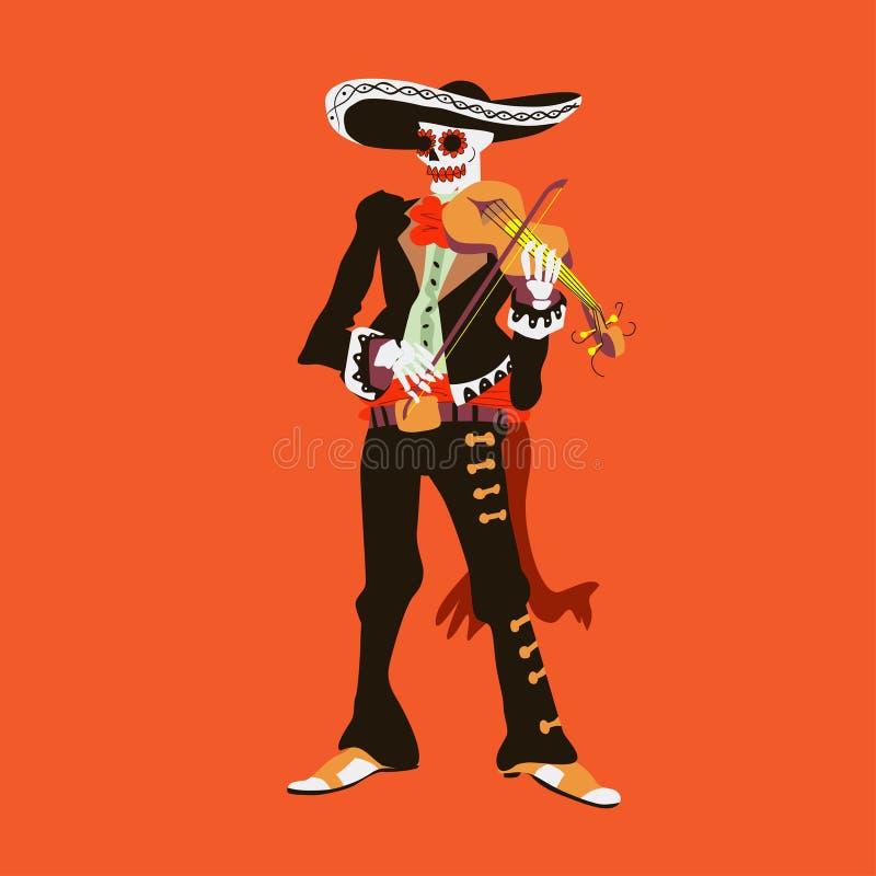 De musicus van het mariachiskelet van Gr Violistkarakter op rode achtergrond wordt geïsoleerd die Dialos muertos vectorillustrati stock illustratie