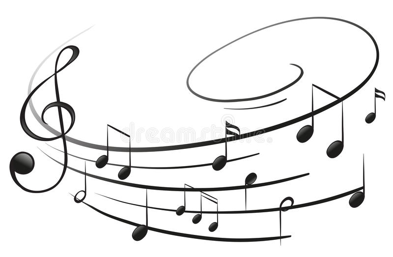 De musikaliska anmärkningarna med G-klaven royaltyfri illustrationer