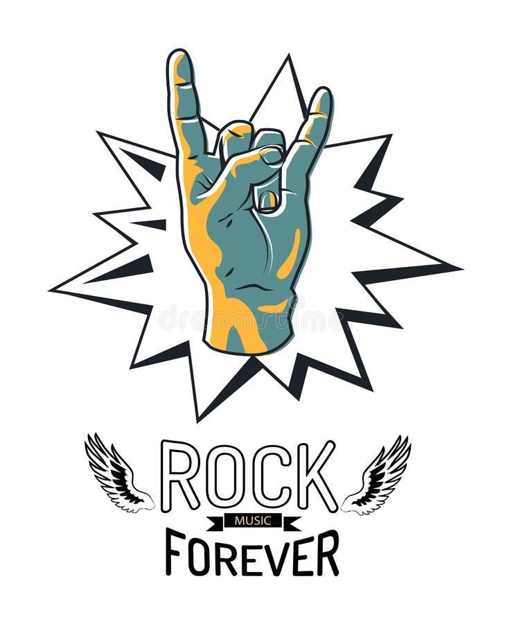 De musique rock illustration de vecteur d'emblème pour toujours illustration libre de droits