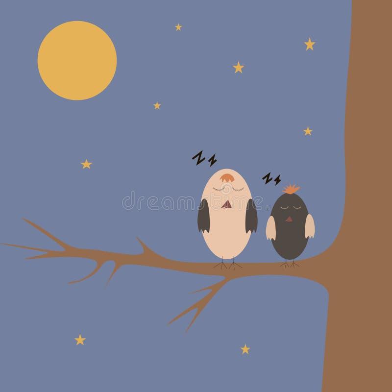 De mussen van het beeldverhaal op de boom royalty-vrije illustratie