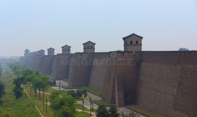 De muur van de stad van Pingyao, Shanxi provincie, China stock afbeeldingen