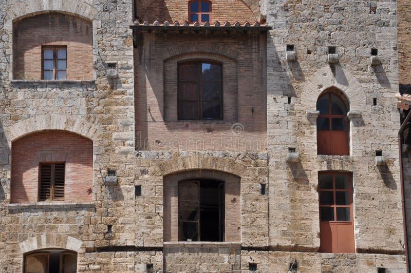 De muur van de steen van San Gimignano royalty-vrije stock foto's