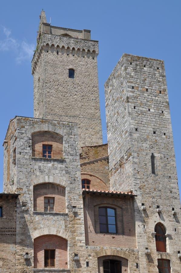 De muur van de steen van San Gimignano royalty-vrije stock foto