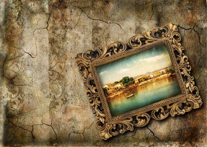 De muur van Grunge met het schilderen royalty-vrije illustratie