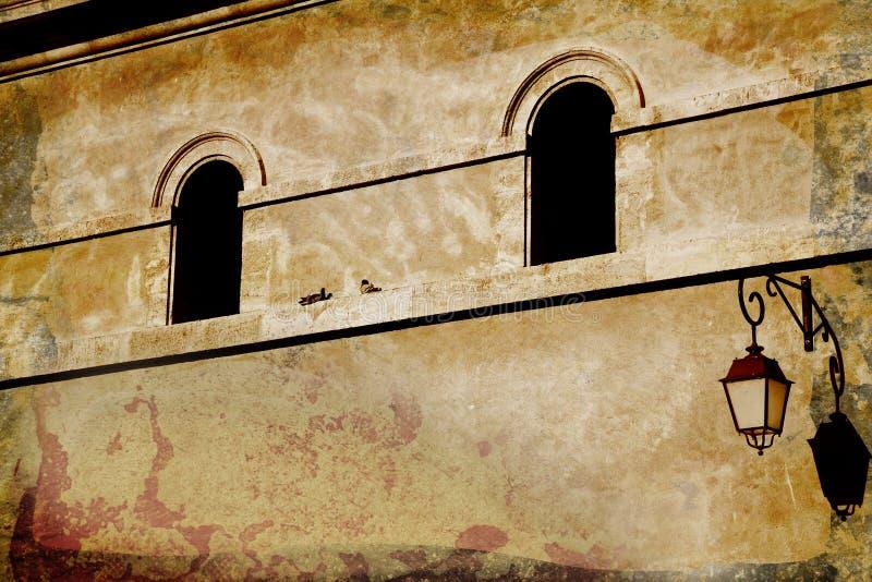 De muur van Grunge met overspannen venster royalty-vrije stock foto's