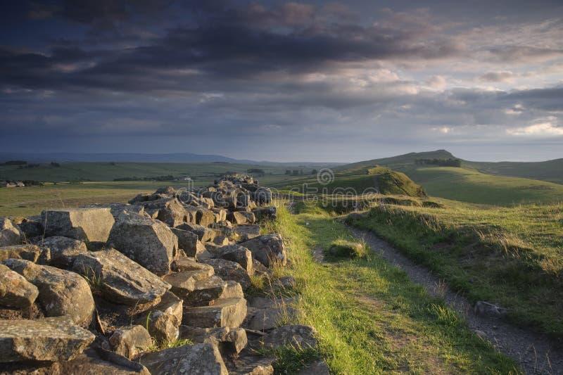 De Muur van Hadrian stock afbeeldingen