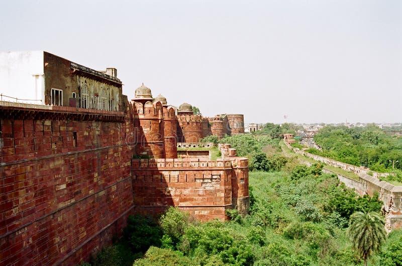 De muur van het Fort van Agra royalty-vrije stock afbeeldingen