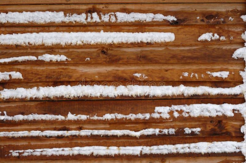 De Muur van het Huis van het logboek die met Sneeuw wordt behandeld royalty-vrije stock afbeeldingen