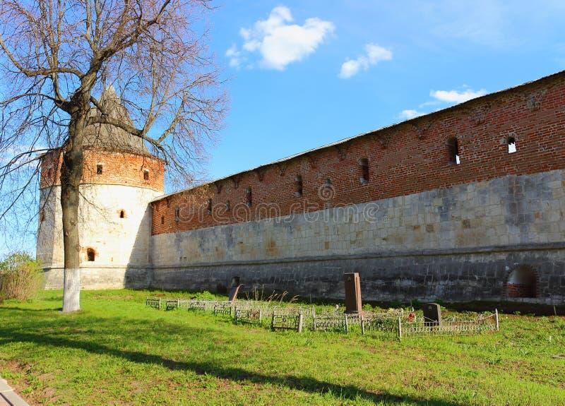 De muur van het Kremlin in Zaraysk-stad stock foto's